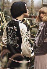 NWT Anthropologie black pink Satin Embroidered Bird Reversible Zip Jacket S