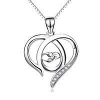 Mom and Kids Hand Necklace Eternity Love 925 Sterling Silver Open Heart Pendant