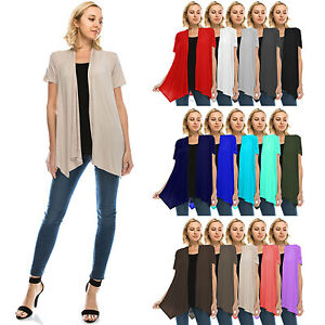 Womens Lightweight Short Sleeve Open Front Cardigan-Made in USA (S ...