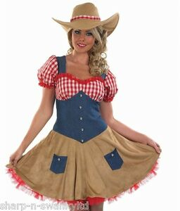 Ladies-Sexy-Cowgirl-Cowboy-Wild-West-Fancy-Dress-Costume-Outfit-8-30-Plus-Size
