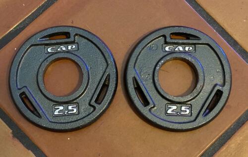 "Pair Set of 2 CAP 2.5LB 2/"" Olympic Grip Weight Plates 5LB Total"
