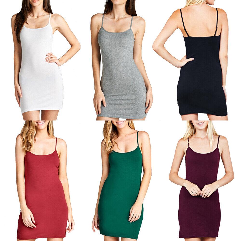 AUHEGN Womens Basic Adjustable Spaghetti Strap Cami Slip Mini Dress
