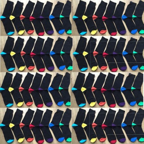 24 PAIRS MEN ADULTS BLACK COTTON SOCKS WITH COLOURED HEELS /& TOES UK  6-11 CLRN