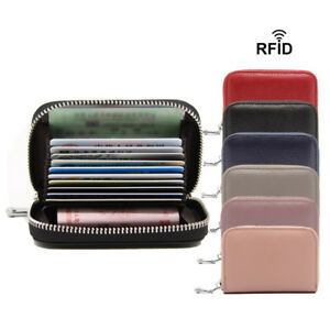 Men Wallet Genuine Leather Credit Card Holder RFID Blocking Zipper Thin Pocket