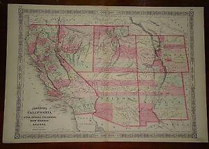 Details about Vintage 1864 UNITED STATES SOUTHWEST TERRITORIES MAP Old  Antique Original Map