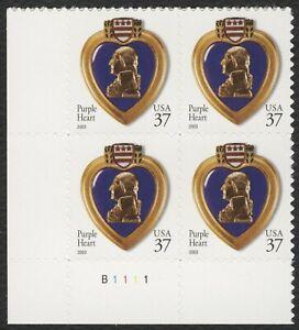 #3784 37c Violeta Corazón, Placa Bloque [B1111 Ll ] Nuevo Cualquier 5=