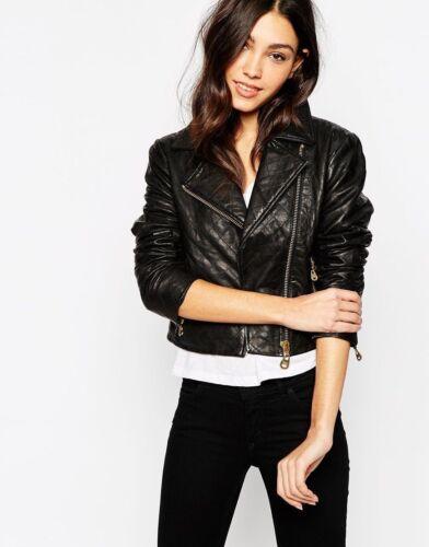 véritable cuir véritable pour d'agneau veste manteau femmes en de en cuir noir motard Nouvelle motard qvFB4nB