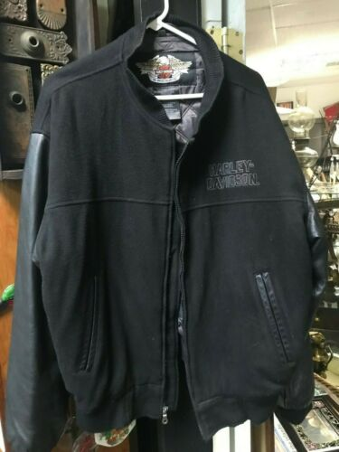 Harley-Davidson Mens Large Charcoal Leather  and W