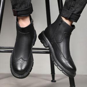 British Men Autumn Flat Retro Platform High-top Casual Shoes Oxfords Lace Up