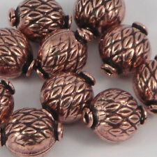 Modello di rame puro Foglia a forma di zucca focale Perline. 15 x 12-Confezione da 10