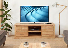 baumhaus mobel oak large widescreen tv cabinet with 6 drawers solid oak