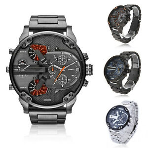 Big-Dial-Watch-Sport-Mens-Stainless-Steel-Strap-Date-Quartz-Analog-Black-Fashion