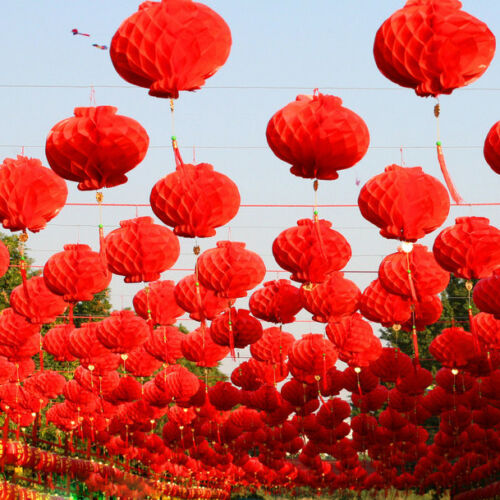 Rouge Chinoise Papier Lanterne Festival traditionnel Hanging Decor Waterproor 50 Pièce