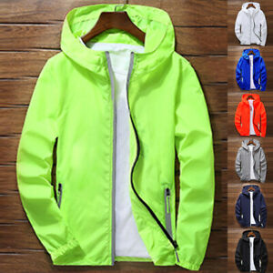 Men-039-s-Waterproof-Windbreaker-ZIPPER-Jacket-hoodie-Light-Sports-Outwear-Coat-Gym