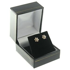 Black Faux Leather Stud Earring Box Display Jewelry Gift Boxes
