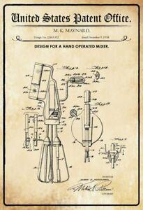 Ee-uu-Patent-Batidora-Mano-Maquina-Mezclador-1958-Letrero-de-Metal-Cartel-Lata