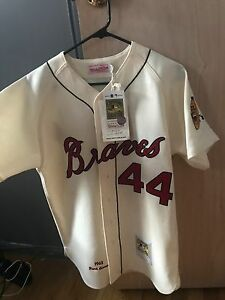 low priced c20f5 397d9 Details about Hank Aaron Milwaukee Braves Mitchell & Ness Authentic 1963  Home Jersey Sz. 40(M)