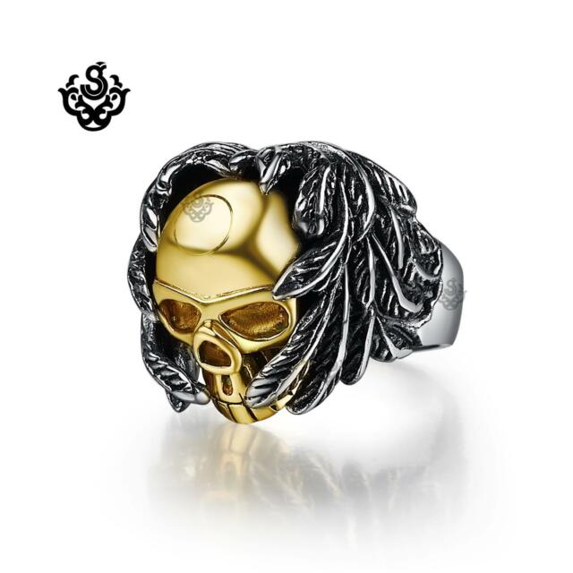 Silver gold bikies ring solid stainless steel skull angel wings band soft gothic
