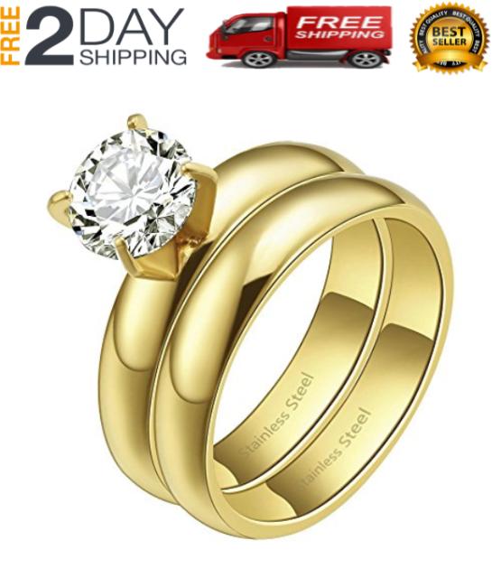 alianzas alianzas boda compromiso acero inoxidable negro plata /& diamante grabado 2