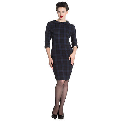 Qualifiziert Hell Bunny Hamilton Navy Blue Plaid Tartan 1950s Vintage Retro Pencil Work Dress