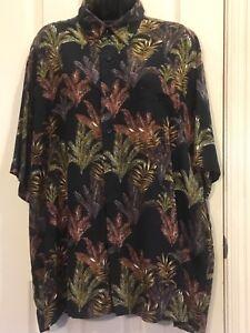 64676f05 Men's Puritan Short Sleeve Multi Colored Button-Up Hawaiian Print ...