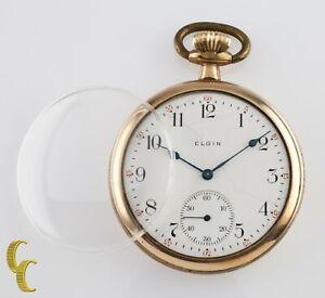 Gold Filled Elgin Antique Open Face Pocket Watch Gr 291 16S 7 Jewel