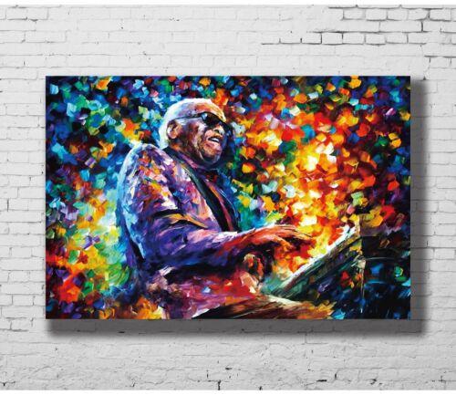 24x36 14x21 Poster Ray Charles Negro Jazz music Colorful Painting Piano Art P-47