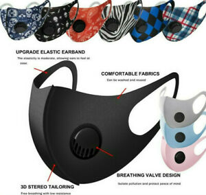 Reusable Washable Adult Soft Cloth Breathable Face Mask With Breathing Valve