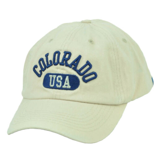 Colorado USA Centennial State City Town Relaxed Beige Adjustable Hat Cap America