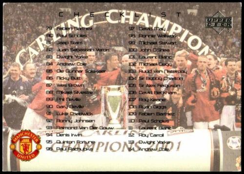 C361 Checklist Manchester United #135 Upper Deck 2001 Football Trade Card