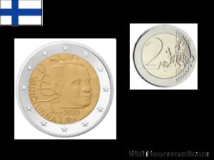 2 Euros Commémorative Finlande 2020 Vaino Linna UNC