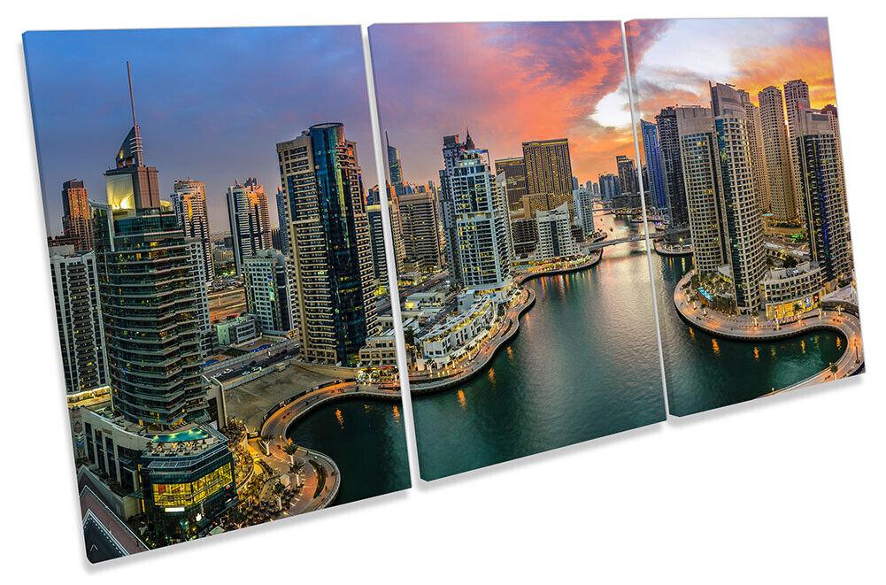 Dubai Marina Skyscrapers Print CANVAS WALL ART TREBLE Picture Multi-Colourot