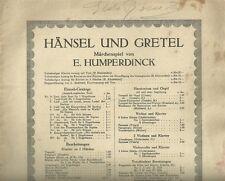 Duetto da Hansel e Gretel Spartito per Canto e Pianoforte di E. Humperdinck 1895
