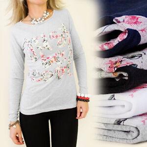 Damen-Tunika-Shirt-Grau-Blumen-Print-Bluse-S-36-Pullover-Floral-Muster-Blogger