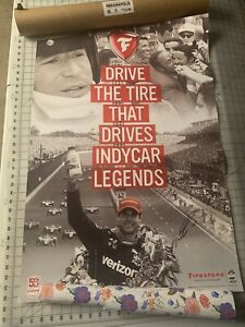 2019 Indianapolis 500 Poster Firestone Indycar Will Power Mario Andretti Signed