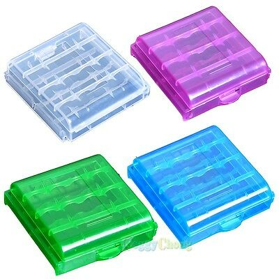 Blue+Green+White+Purple Hard Plastic Case Holder Storage Box for 4x AA Battery
