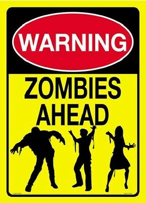 Warning Zombies Ahead Tin Sign Funny Dorm Room Decoration