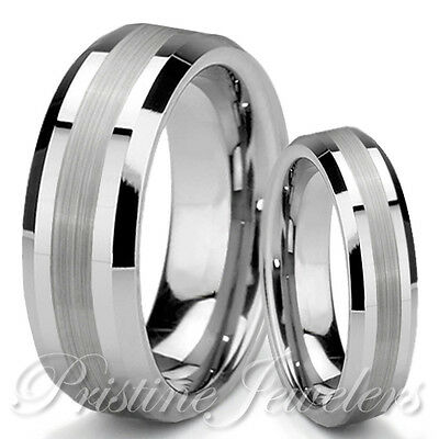 His & Her Tungsten Silver Mens Womens Wedding Engagement Band Promise Ring Set