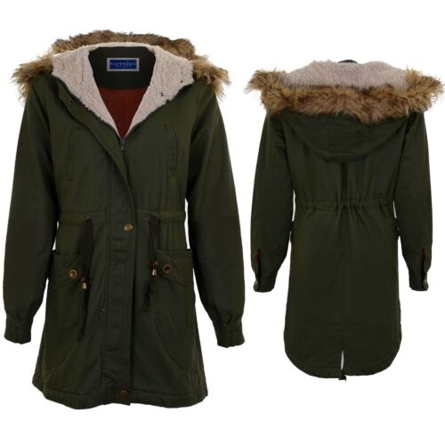 Women's Zip Up Detachable Faux Fur Hooded Winter Ladies Parka Fish Tail Coat