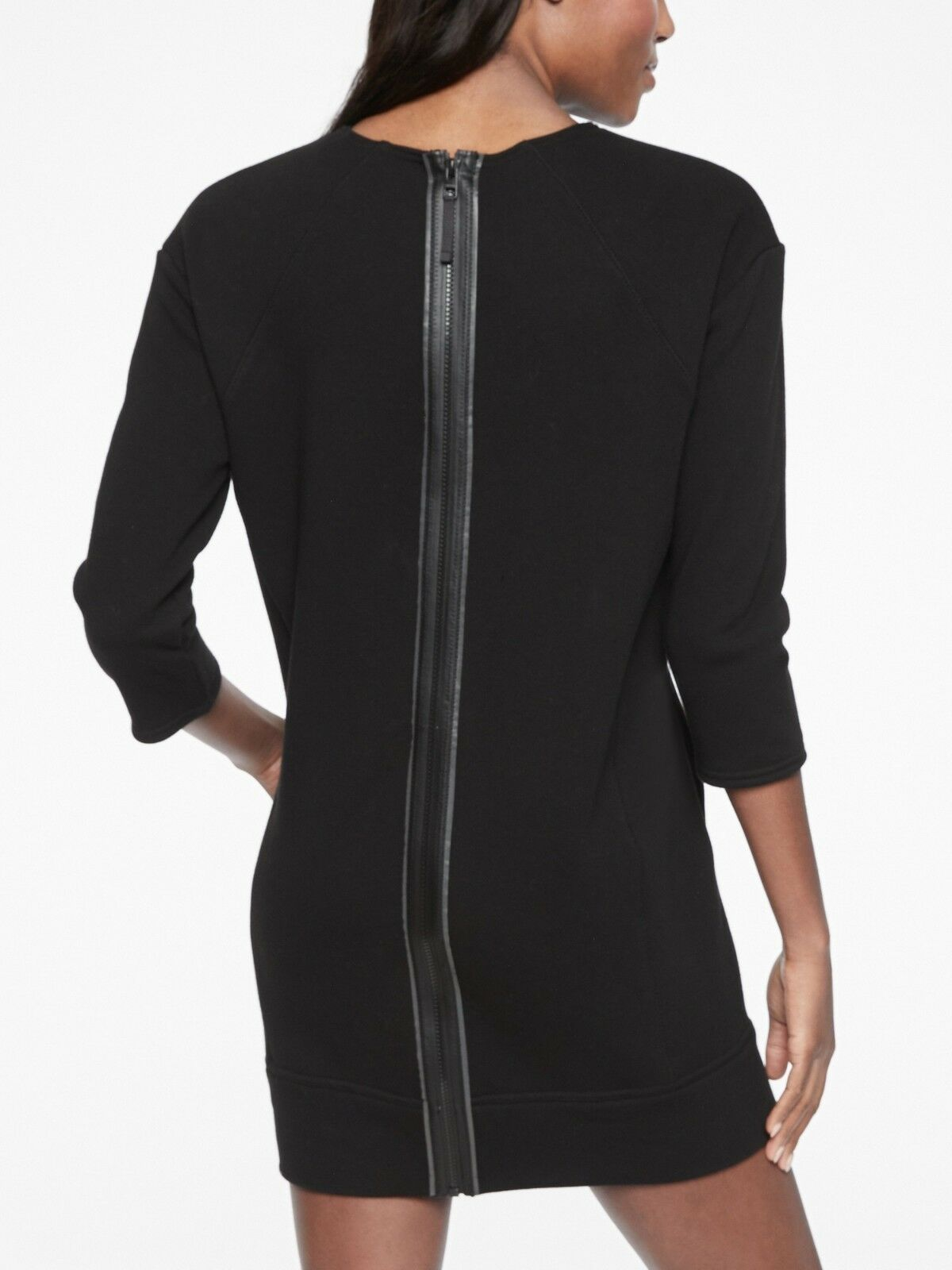 Athleta Cozy Karma Back Zip Sweatshirt Dress, schwarz Größe M         N0429