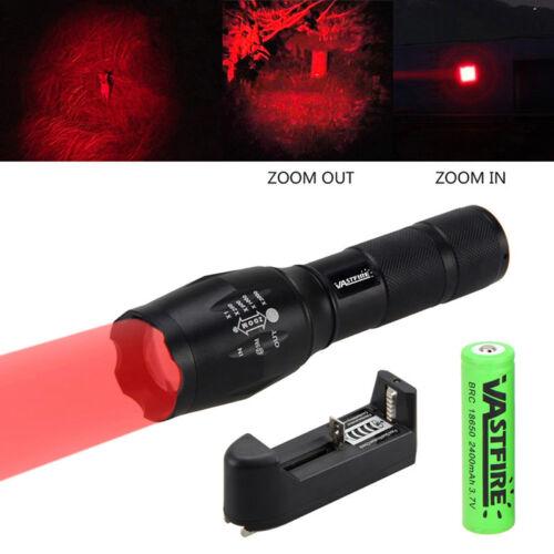 Zoom 5000LM LED Rot Licht Focus Taschenlampe Fahrradlicht 350 yard Flashlight