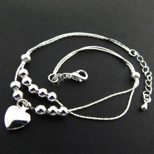 Anklet XL Bracelet 925 Sterling Silver S//F Solid Heart Charm Bead Link Design