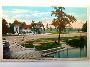 Vintage-Postcard-Boat-Landing-and-Pavilion-Riverside-Park-Indianapolis-Indiana