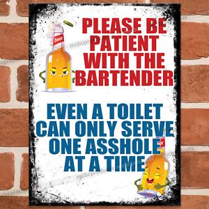 BE PATIENT Funny Metal Bar Signs Pub Wall Retro Vintage Plaque Man Cave Tin Sign