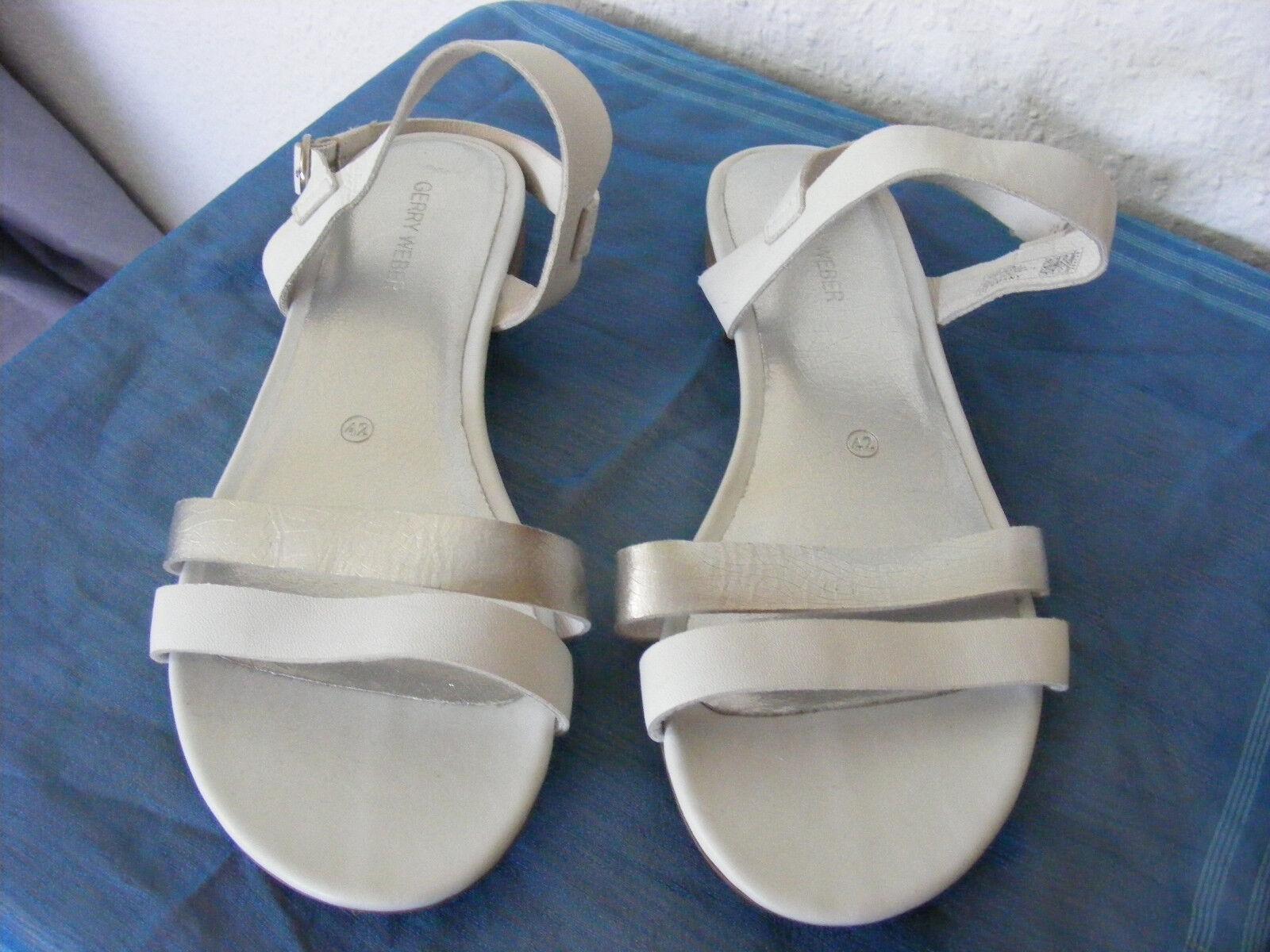 NEU Gr. 42 weiße weiß Sandalen GERRY WEBER NEU weiß weiße modern klassisch bequem flach 534a59