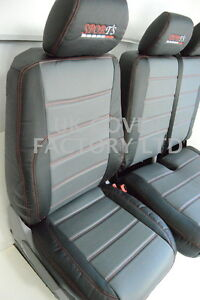 2+1 Quilted Black Leather Look Van Seat Covers For RENAULT TRAFIC 2016 ONWARDS