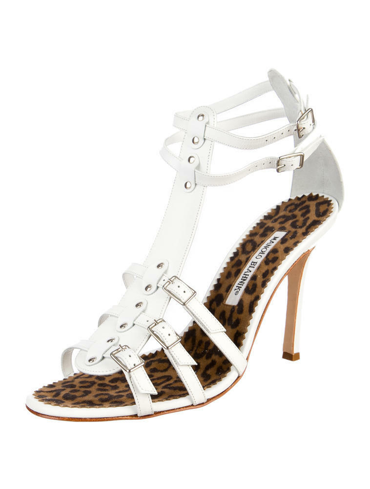 GORGEOUS, RARE, NEW  845 MANOLO BLAHNIK WHITE LEATHER GLADIATOR HEELS (NWB)