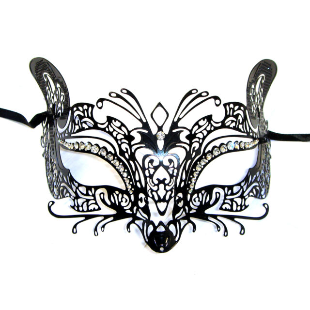 El Gato Venetian Style Metal Filigree Masquerade Mask Diamante Cat Fox Mouse
