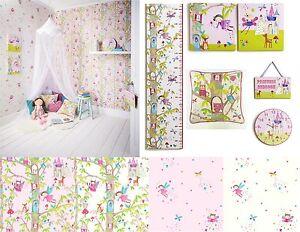 Details About Woodland Fairies Fairy Glitter Girls Bedroom Wallpaper Matching Accessories