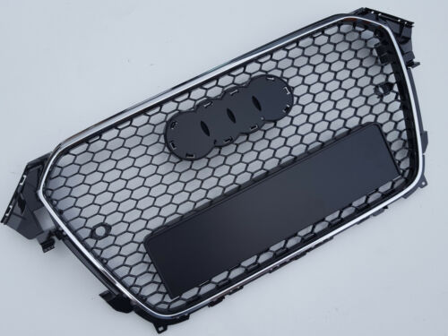 black honeycomb mesh grill for Audi A4 B8.5 S4 2012 with PDC RS Style chrome